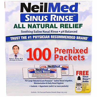 Sinus Rinse, All Natural Relief, 100 Premixed Packets - NeilMed