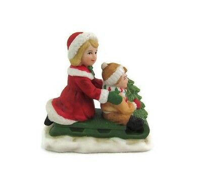 Homco Colonial Village Character Figurine Boy & Girl On Sled With Tree 5105