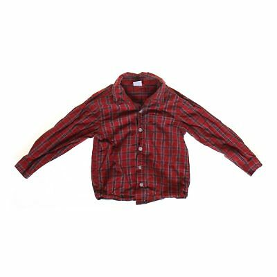 WonderKids Boys Plaid Button-up Shirt, size 4/4T,  red, yellow, black,  cotton