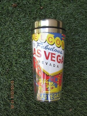 NWT Las Vegas Coffee Travel Mug  Plastic on outside metal inside  Retail $14.95