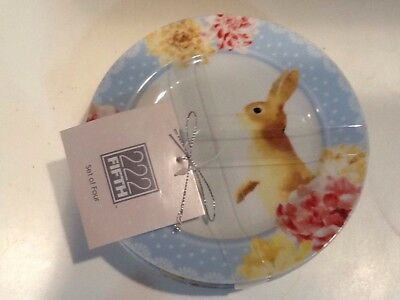222fifth Leanna Bunny Easter 4 New Appetizer/dessert Plates