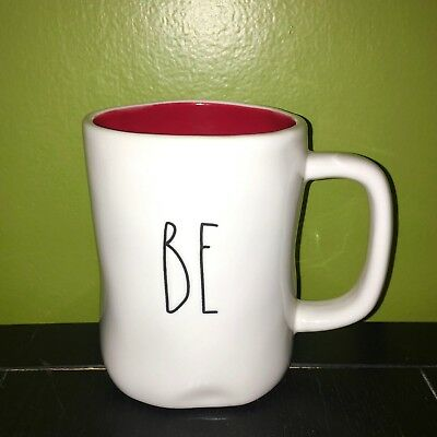 """New RAE DUNN LL Valentines """"BE MINE"""" Double Sided Mug With Red Inside By Magenta"""