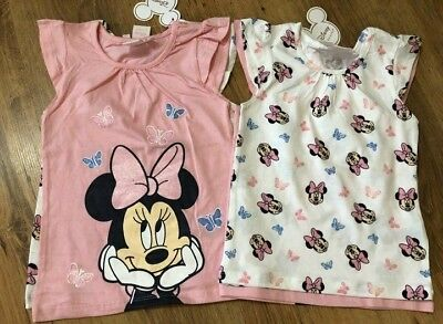 Primark Girls Pk 2 Minnie Mouse Summer T-Shirts Bnwt All Ages Tops Disney