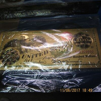 24 K Gold Plated foil $100 Bill Collectable Novelty Bank Note