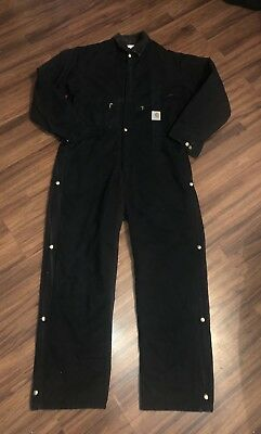 Insulated Carhartt Mens Coveralls Z01 Lined Black Artic Wear Size 44  Reg