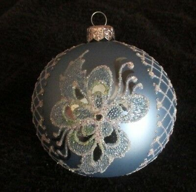 Large Blue, Silver & White Glittered Christmas Ornament