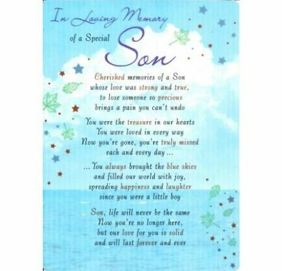 💔Grave Card IN LOVING MEMORY OF A SPECIAL SON Poem Verse Memorial Funeral💔