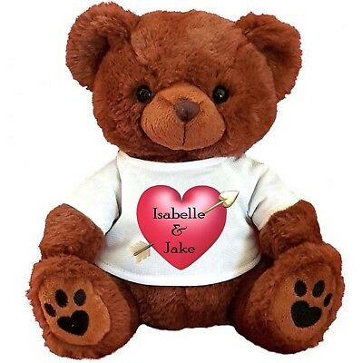 """PERSONALISED BROWN TEDDY BEAR 25CM/10"""" SITTING  VALENTINES DAY Pink Heart"""