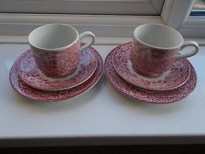 Vintage Broadhurst pink / red and white cup saucer and plate x 2 trios