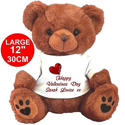 "Personalised Brown Teddy Bear 30Cm/12""  Valentines Day Birthday Valentine's Day"