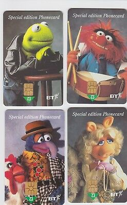 4 X Bt Telephone Rare Used Phone Cards - £2 Muppets Special Edition Miss Piggy