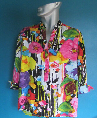 Jams World Women's Shirt Size Large (Bright Flowers) 3/4 Length Sleeve-3 Buttons