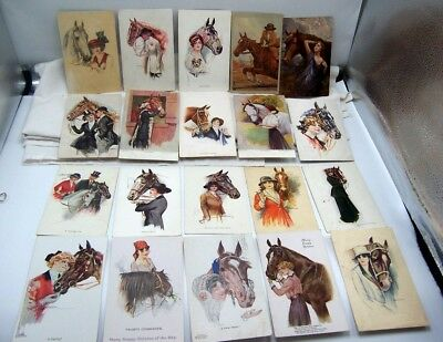 1910's Beautiful Women & Horses Artist Signed Post Card Collection 63 Cards!