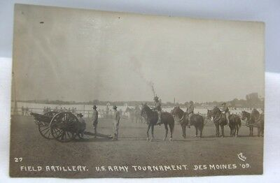 1909 Des Moines Iowa U. S. Army Field Artillery Tournament RPPC by Post