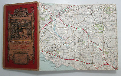 1933 old OS Ordnance Survey Popular Edition one-inch map 146 Land's End & Lizard