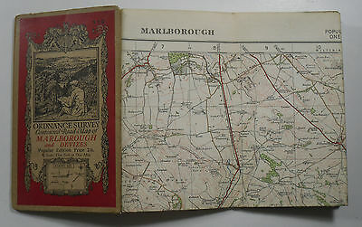1932 old vintage OS Ordnance Survey one-inch Popular Edition Map 112 marlborough