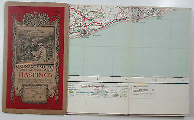 1927 old vintage OS Ordnance Survey one-inch Popular Edition Map 135 Hastings