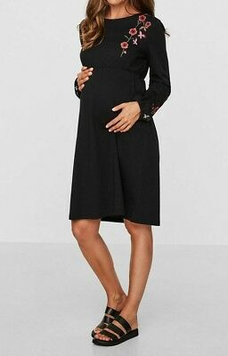 NEW MAMA.LICIOUS Embroidered Long Sleeve Maternity Dress, Black - S