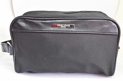GIORGIO ARMANI Parfums Black Canvas Leather Zip Top Pouch Cosmetic Make Up  Bag 9634b6be86