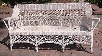 Vintage Original Antique White Wicker Couch Loveseat Shabby Chic, sold as is