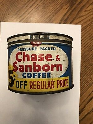 VINTAGE Chase & Sanborn DELUXE 1 LB METAL COFFEE TIN CAN WITH CORRECT LID