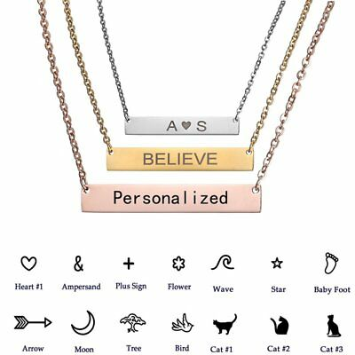 Personalized DIY Stainless Steel Pendant Necklace Name Letters Custom Jewelry