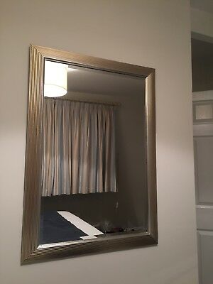 Large John Lewis Wall Mirror With Antique Silver Metal Effect Frame