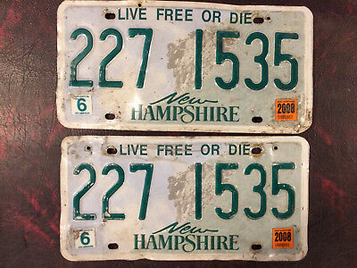 New Hampshire License Plate Lot / Pair Old Man On The Mountain
