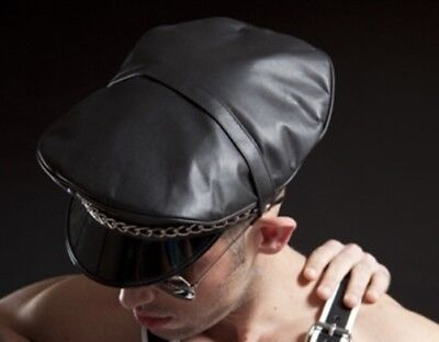 Mister B (Muir Style) No Fishbone Leather Military Cap, Size 57, Black £140