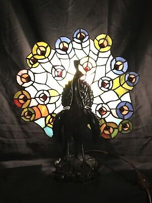 Beautiful Stained Glass Peacock Lamp