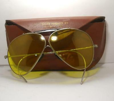Vintage Willson Yellow Lense Glasses w / leather case Reading Pa.