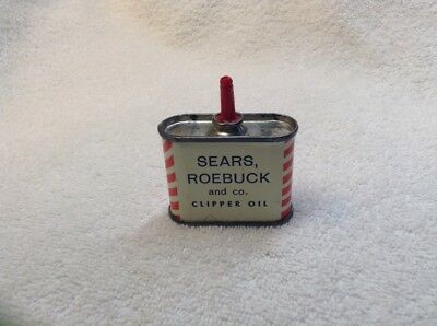 1940-50s Sears, Roebuck and Co. Clipper Oil .0295 Litre Tin Can Barber Shop pc