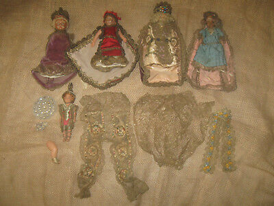 Antique Vintage CELLULOID DOLL LOT Ornate clothing jeweled U.S.A. German toy