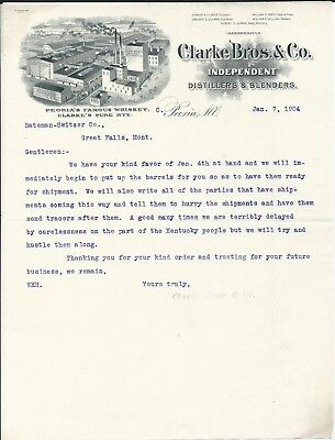 1904 Peoria IL Clarke Bros & Co Distillers/Peoria's Famous Whiskey Letterhead
