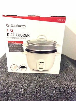 Goodmans Kitchen Ware 1.5L Rice Cooker With Steamer Basket Non-Stick Inner Pot