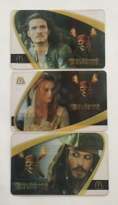 2006 McDonald's Gift Card. PIRATES OF THE CARIBBEAN. Set of 3. Mint. W/W ship.