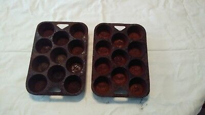 Lot of 2 Vintage Cast Iron Muffin Pans