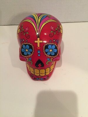 """Halloween Mexican Day of the Dead Decorative 4.5"""" red Skull Piggy Bank"""