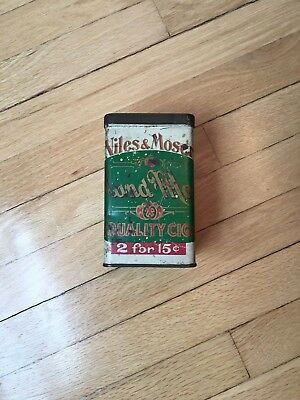 Vintage Niles And Moser Cigar Tin with lid. Great color!