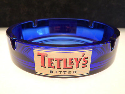 Tetleys Bitter Blue Glass Ash Tray made in France