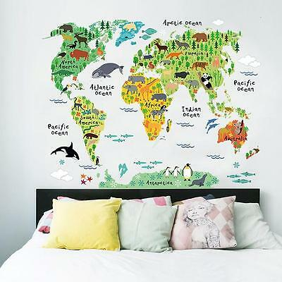Kids Bedroom Living Room Animal World Map Wall Sticker Mural Decal ON SALE