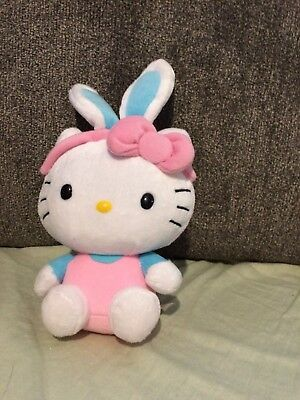 Cute Ty HELLO KITTY Sanrio Plush Toy w/EASTER BUNNY EARS Pink & blue no tag