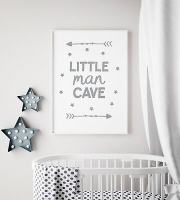 Little Man Cave Arrow Grey Nursery Print Kids Bed Room Boys Wall Art Picture