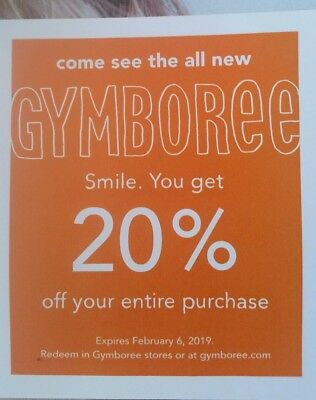GYMBOREE 20% off coupon code exp February 6, 2019 SUPER FAST REPLY!