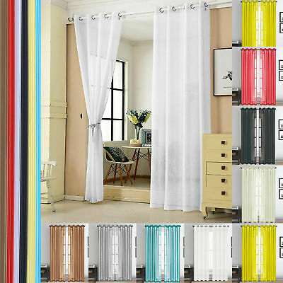 Lucy Eyelet Ring Slot Top Voile Rod Panel Net Voile plain Window Door Curtains