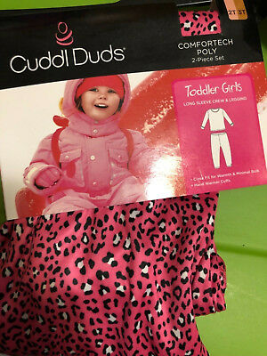 new girls Size 2T-3T CUDDL DUDS 2 pc. set COMFORTECH POLY warmth PINK CHEETA