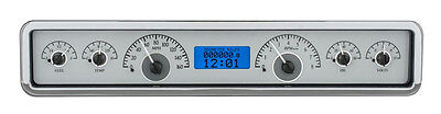 "Dakota Digital Universal 3.75x19.5"" Analog Gauges Silver Alloy Blue VHX-1023-S-B"