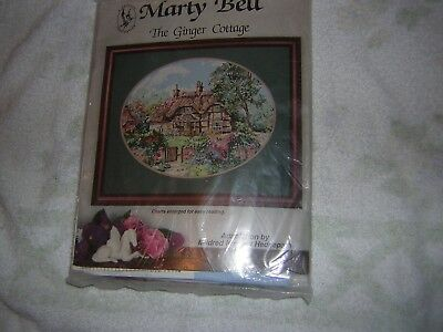 """Pegasus Marty Bell's Cross Stitch Kit K275 """"THE GINGER COTTAGE"""" by Hedgepath"""