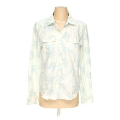 American Eagle Outfitters Womens Black Off White Trim Button Up