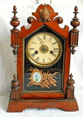 Early 20Th Junghans Wooden Mantel Clock Striking On A Gong And Painted Glass